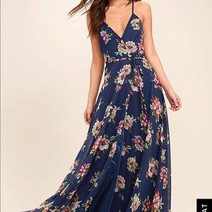 Lulus Navy Blue Floral Print Wrap Maxi Dress